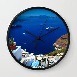Santorini Caldera Wall Clock