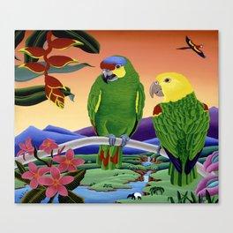 Amazon Parrots Canvas Print