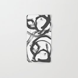 Interlock black and white paint swirls Hand & Bath Towel