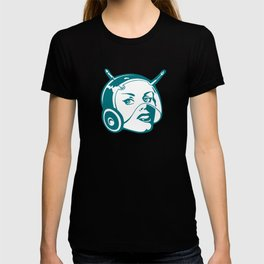 Faces: SciFi lady on a teal and orange pattern background T-shirt