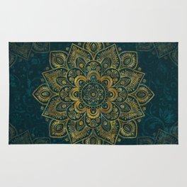 Golden Flower Mandala on Dark Turquoise Rug