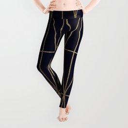 Modern gold geometric triangles pattern navy blue watercolor Leggings