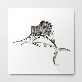 Surfing the fish Metal Print