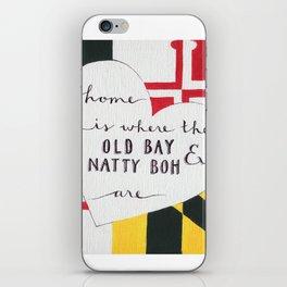 Old Bay & Natty Boh - Baltimore, Maryland print iPhone Skin