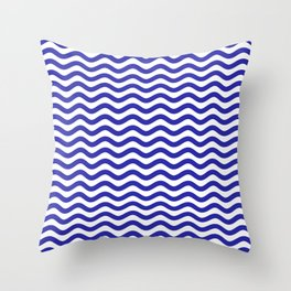 Waves (Navy & White Pattern) Throw Pillow