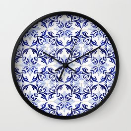 Azulejo V - Portuguese hand painted tiles Wall Clock