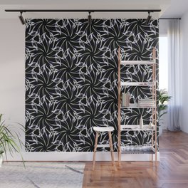 Black And Whte Floral Wall Mural