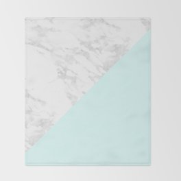 White Marble with Pastel Blue and Grey Throw Blanket