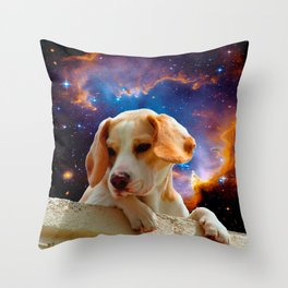 beagle puppy on the wall looking at the universe Throw Pillow