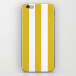 Durian Yellow - solid color - white vertical lines pattern iPhone Skin