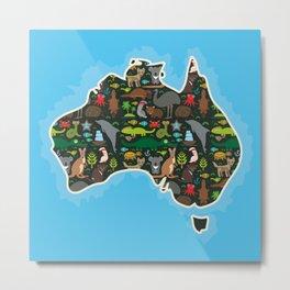 map of Australia. Wombat Echidna Platypus Emu Tasmanian devil Cockatoo kangaroo dingo octopus fish Metal Print