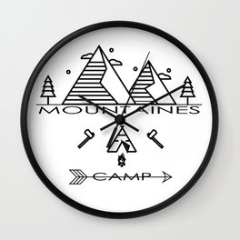 vintage mountaines camping design Wall Clock