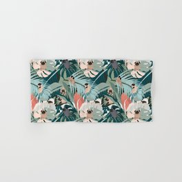 Pugs and Tropical Plants Hand & Bath Towel