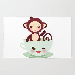 Cute Kawai pink cup with brown monkey Rug