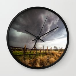 Western Life - Barbed Wire and Storm on the Ranch Wall Clock