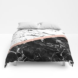 Modern black white marble color block rose gold Comforters
