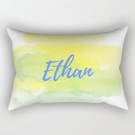 Yellow Green Watercolor Ethan Rectangular Pillow