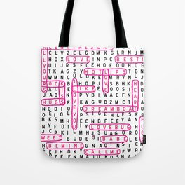 crossword word search valentines day love typography word lover Tote Bag