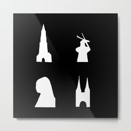Delft silhouette on black Metal Print