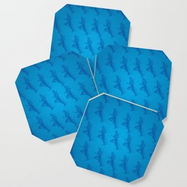 Watercolor running man silhouette background in blue color pattern Coaster