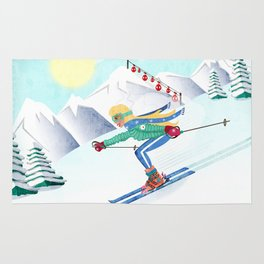 Skiing Girl Rug