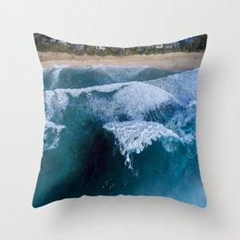 The waves at Banzai Pipeline - Oahu, Hawaii Throw Pillow