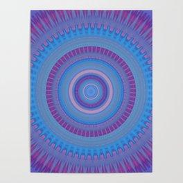 Electric Purple Blue Mandala Poster