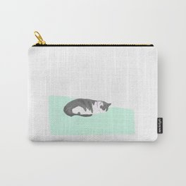 sleeping cat on mint blanket Carry-All Pouch