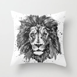 Black and White Lion Head Throw Pillow