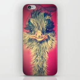 Ostrich in a hair net and curlers iPhone Skin