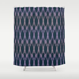 Navy Ikat Pattern Shower Curtain