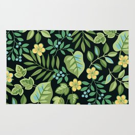 Tropical Leaves and Berries Rug