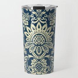damask in white and blue vintage Travel Mug