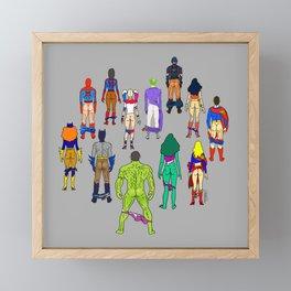 Superhero Butts - Power Couple on Grey Framed Mini Art Print