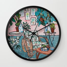 Rattan Chair in Jungle Room Wall Clock