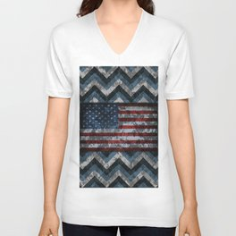 Blue Military Digital Camo with American Flag Unisex V-Neck