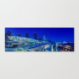 Seattle Pikes Market Waterfront in Blue Canvas Print