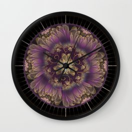Bohemian Ruffled Feathers & Lavender Gypsy Flowers Wall Clock