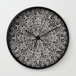 MANDALA ON BLACK MARBLE Wall Clock