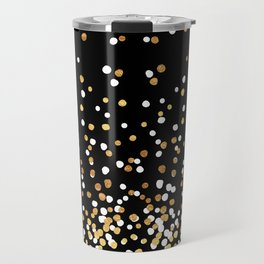 Floating Dots - White and Gold on Black Travel Mug