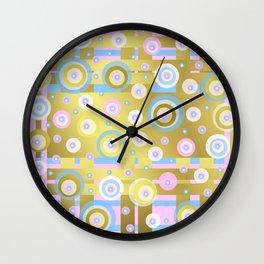 Gold, Rose, Blue, retro pattern, balls, stripes, shiny Wall Clock