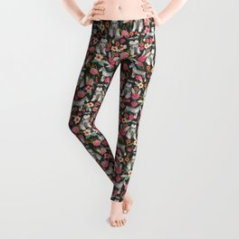 Schnauzer floral must have dog breed gifts for schnauzers owners florals Leggings