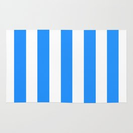 Dodger blue - solid color - white vertical lines pattern Rug