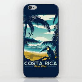 Costa Rica Retro Vintage Travel Poster Toucan Wave Surf Palm Trees iPhone Skin