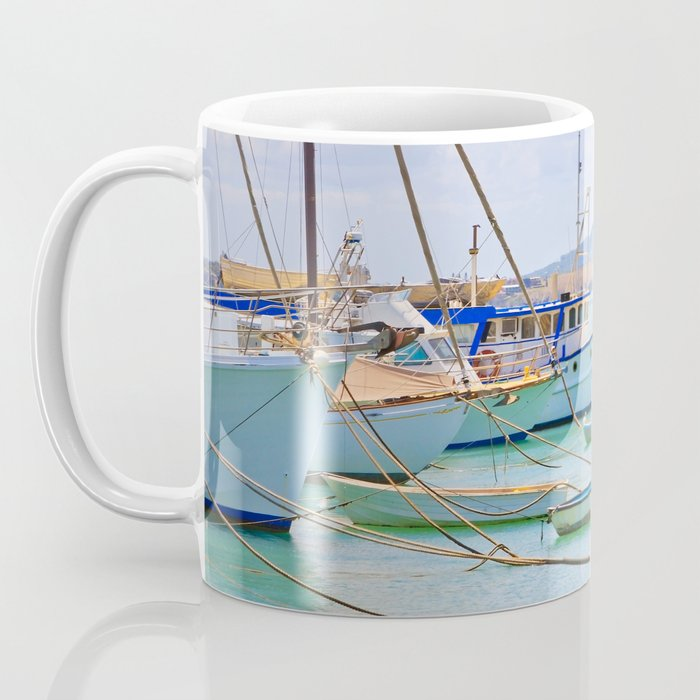 Boats on the river Coffee Mug