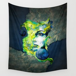 Esther Green (Set) by carographic watercolor portrait Wall Tapestry