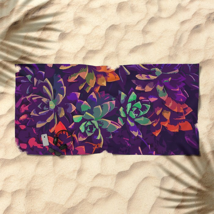 Cali Succulents 3 Beach Towel