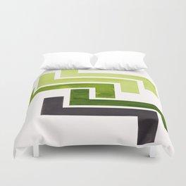 Sap Green Pattern Mid-century Modern Simple Geometric Pattern Watercolor Minimalist Art Squares Duvet Cover