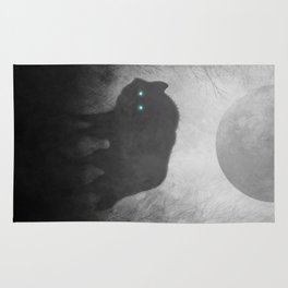 Black and White Wolf Moon Silhouette  Rug