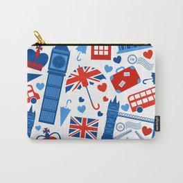 Fondo de patrón sin fisuras con hitos de Londres y símbolos de Gran Bretaña ilustración vectoria Carry-All Pouch